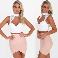 US Fashion Womens Summer Sleeveless Blouse Casual Crop Top T-Shirt Tops M XZ53