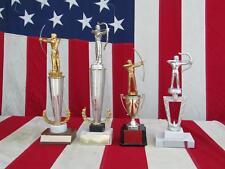 Vintage Mid-Century Archery Award Trophy Lot Bow & Arrow Metal Archer Toppers #3