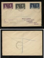 Fiji  coronation stamps on registered cover 1937        MS0301