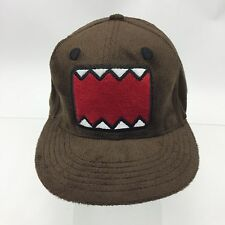 "NWOT DOMO Logo Face Cap Hat  All over Furry Faux Fur TEETH Fitted 22.5"" Circum."