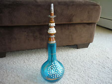 VINTAGE HOOKAH/ HAND CRAFTED/ CERULEAN BLUE GLASS BOWL/ INLAID  MOTHER OF PEARL