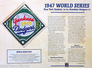 1947 WORLD SERIES PATCH CARD Willabee & Ward NEW YORK YANKEES / BROOKLYN DODGERS