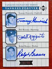 Tommy Henrich Phil Rizzuto Ralph Branca 2003 Upper Deck Yankees Autograph #12/50