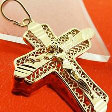 A027 GENUINE REAL 18K YELLOW GOLD G/F SOLID MENS UNISEX CRUSIFIX CROSS PENDANT