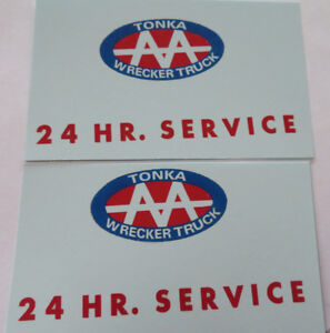 Replacement water slide decal set for Tonka tow truck  AA 24 Hr. Sevice