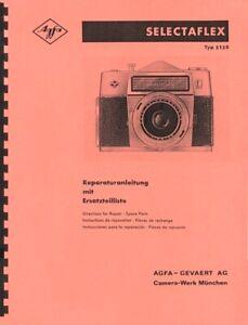 Agfa Selectaflex Service & Repair Manual TYP 3130 (c1966) Reprint