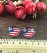 6Pcs New USA Flag Charm Chunk Snap Button fit for Noosa Leather Bracelet