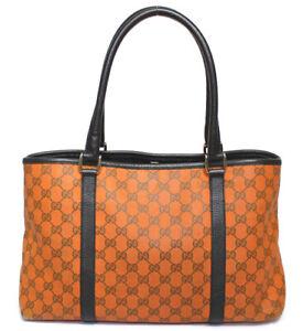 GUCCI GG Canvas & Leather Shoulder Tote Bag Orange 257302 #52239 from Japan