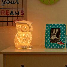 Ceramic White Owl Night Light Childrens Lighting Kids Room Ambient Bedroom Lamp