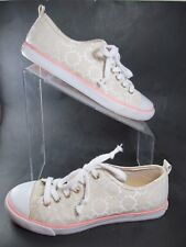 Tommy Hilfiger Beige Sneakers 8 M Signature Print Lace Ups Fashion