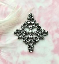 Diamond Stamping ~ Jewelry (Fa-6011) Antique Silver Victorian Filigree Floral