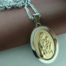 Men Women 9K 9CT White Gold Filled The Virgin Mary Pendant Chain Necklace N163
