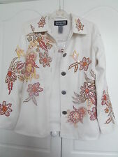 NWT INDIGO MOON cream figured jacket  orange and gold sequins size XS