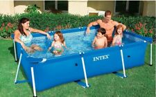 Intex Metal Frame Tube Rectangular Above Ground Summer Play Swimming Pool Set