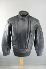 AKITO RAPIDE BLACK LEATHER BIKER JACKET WITH REMOVABLE BACK PROTECTOR, SIZE 16