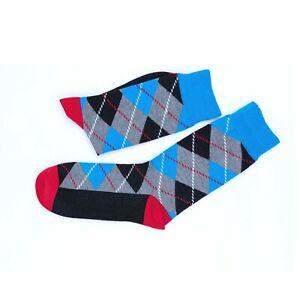 2 Crew Socks Diamond Check Crew Cotton Socks Blue Orange Socks Mens Size 6-11