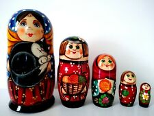 """New Hand Painted 7"""" Russian Nesting Cats Doll Matryoshka 5 Pc Made In Russia"""