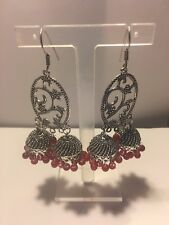 925 SILVER PLATED RED RUBY CLASSIC LONG HOOK JHUMKI EARRING-E1321