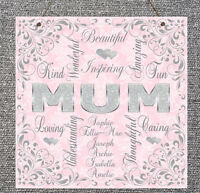 Personalised Plaque Mum Typography Family Shabby Mother's Day Chic Birthday Gift