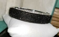 Gorgeous Ross Simons Black pave wide Puffy Sterling silver hinge Bangle Bracelet
