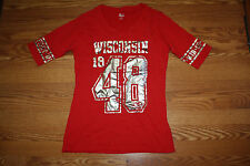 NEW Womens KNIGHTS Wisconsin Badgers NCAA 1/2 Sleeve Shirt L Large