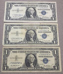 1957 1 Dollar Bill Blue Seal Star Note, lot of (3)