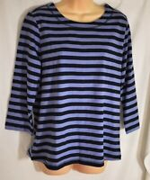 women's APPLESEED'S navy & purple stripe 3/4 sleeves top size medium 100% cotton