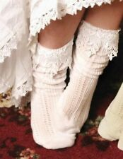 Victorian Trading Co Ivory Lace Slouch Socks New