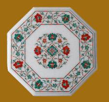 "15""Marble Coffee Table Inlay Work Semi Precious Stone Handmade Home Decor"