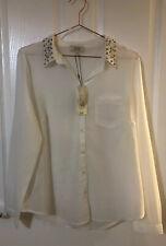 Matalan White Transparent Shirt With Studded Collar BNWT Size 16 Pocket Detail