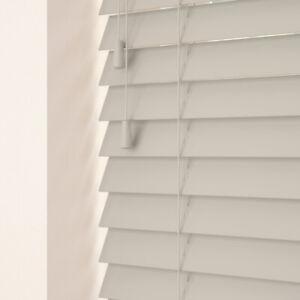 Venetian Fauxwood blinds 35mm & 50mm slats up to 2.4metres wide Light Grey