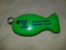 Vintage Nos Floating Key Chain Kssg Marine Green Fish Shaped Boat Water