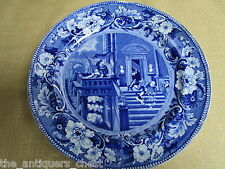 "1800s Clews Staffordshire Blue Transfer Plate ""Doctor Syntax Stargazing""  [a*1]"