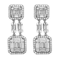 Sterling Silver Drop Earrings with AAA quality Baguette and Round CZ