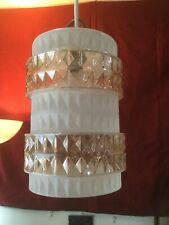 Large Vintage Retro Frosted White Amber Glass Ceiling Light Shade Pendant