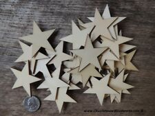50 qty 2 inch Star Wood Flag Embellishments Shapes Crafts Ornaments Decor DIY