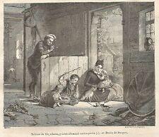 A5405 Meyerheim - La sera - Xilografia - Stampa Antica del 1850 - Engraving