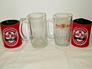 2 Bali Hai Sturdy Hotel Quality Glass Beer Mugs Plus 2 Red/Black Stubby Holders