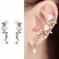 Gold Ear Stud Crystal Fashion Earring Flower Jewelry Lady Cuff Women Rose Leaf