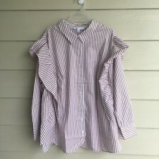 NWT Woman DR2 Striped Rufflle Button Down Shirt Blouse Daniel Rainn Pink White