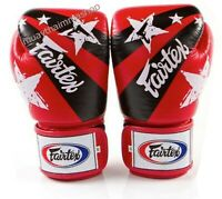 GENUINE Fairtex NATION PRINT PINK RED BLACK BLUE Boxing Gloves Limited Edition
