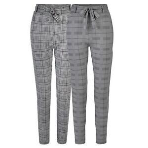 Women High Waist Glenurquhart Trousers Drawstring Belted Smart Leggings XS-L