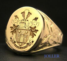 ANTIQUE SIGNET RING FAMILY CREST 18KT GOLD CUSTOM ENGRAVED XL 18MM X 15MM JOLLER