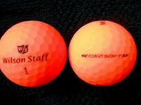 "10 WILSON STAFF -""DX2 SOFT""- ""OPTIX MATTE ORANGE""  Golf Balls - ""MINPEARL"" Grade"