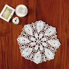 "White Vintage Hand Crochet Lace Doily Round Place Mat 10"" Floral Pattern Wedding"