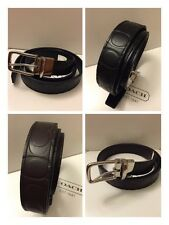 NWT Coach Harness Signature Embossed Leather Cut-to-size Reversible Belt F66125