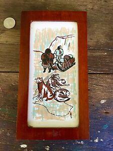 Eskimo Art Tile In Walnut Frame Titled Dog Team And Sled