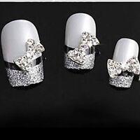 Shiny Stickers Glitter Tips DIY Rhinestone Alloy Bow Tie 10pcs 3D Nail Art