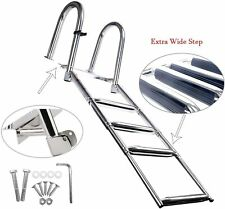 4 Steps Premium Stainless Folding Rear Entry Pontoon Boat Ladder w/ Extra Step