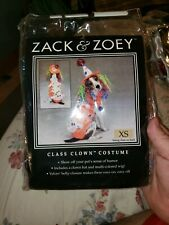 Zack & Zoey Class Clown Dog Halloween Costume Large NIP Hat Wig Jacket X-SMALL